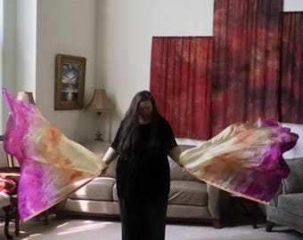 Prophetic - Silk Flag - Worship Flag - Praise Dance - Dyed Silk - Pair Large Rounded Light (5mm) Bendie Flags called On Your Side
