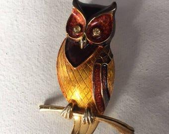 Beautiful Vintage Boucher Owl Brooch