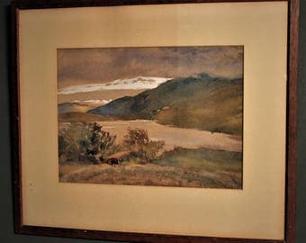 Morning a Highland Loch Landscape, Scotland. Painted by Thea Bridges Exhibited (1953) Signed