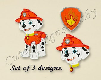 SET, Paw Patrol Marshall applique embroidery design, Paw Patrol Machine Embroidery Designs, Embroidery designs for baby, 3 designs #024