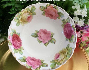"""Antique German Porcelain Serving  Bowl- Hand Painted Pink & Yellow Roses ~Scalloped Edge 8.5"""" Wide"""