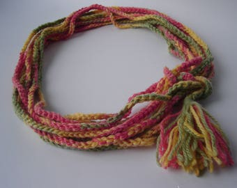 Colorful wool necklace Orange yellow handmade Bohemian necklace crocheted scarf infinity neckwraps winter accessories unique handmade scarf