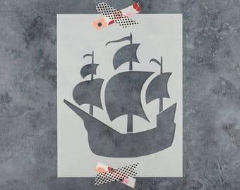 Pirate Ship Stencil - Reusable DIY Craft Stencils of a Pirate Ship