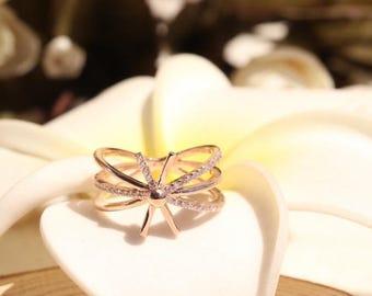 18k solid gold / natural diamond / ring/ NO,XT31