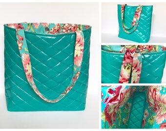 Teal Quilted Tote, Teal Quilted Floral Tote