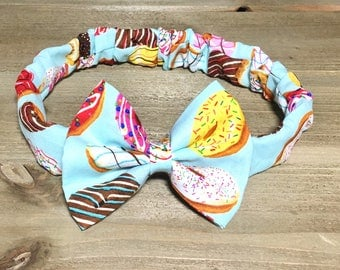 Donut Headband- Donut Bow; Donut Hair Bow; Donut Outfit; Toddler Headband; Newborn Headband; Bow Headband; Baby Headbands; Bandana Headband
