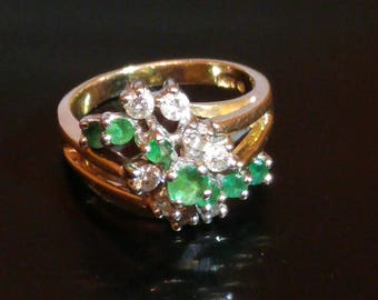 14 K Gold Emerald and Diamond Waterfall Cluster Ring