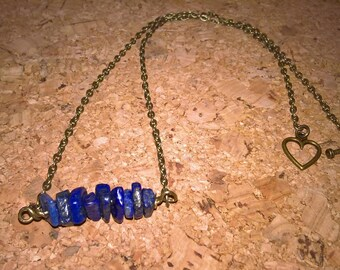 bronze chain and lapis lazuli Choker necklace