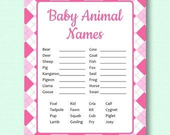 Baby Animal Names - Pink Argyle - Baby Shower Game