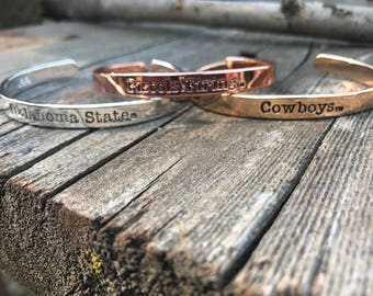 Oklahoma state university-OSU COWBOYS- bangle cuff bracelet stack