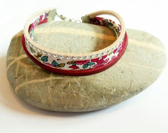 Bracelet liberty suede beige and Burgundy ღ