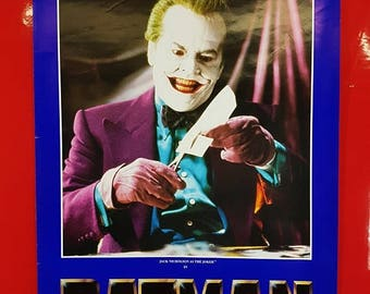 SALE 1980's Batman Movie Poster / Antique Batman And The Joker Movie Advert Poster Nerd Pop Culture Art Deco Collectible Movie Poster