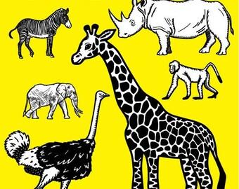 Black And White Animals Clip art, Jungle Animals, Safari Animals, Zebra, Elephant, Monkey, Emu, Rhino, Giraffe, Tiger, Lion, Clipart,