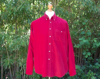 Vintage Red Cord Long Sleeved Shirt - Size Large