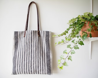 Linen Tote Bag, Linen Shoulder Bag, Linen Shopping Bag, Beach Tote Bag, Market Bag - Black Striped