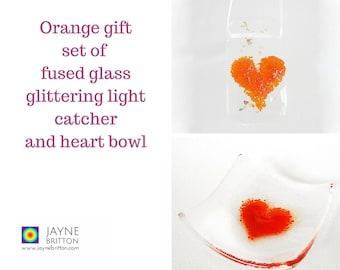 Orange heart fused glass gift set - glittering light catcher, suncatcher, sun catcher, red present, red decor, present, trinket bowl