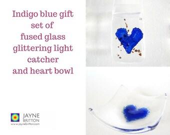 Indigo blue heart fused glass gift set - glittering light catcher, suncatcher, sun catcher, present, blue decor, present, trinket bowl