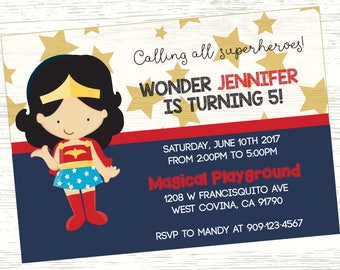 Wonder Woman Birthday Invitation (3 options to pick from)