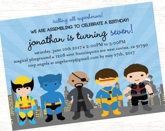 Marvel Birthday Invitation Wolverine Beast Nick Fury Cyclops Hawkeye