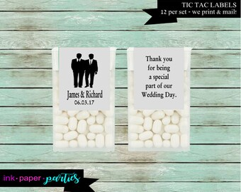 Wedding Gay Two Grooms Mr. & Mr Party Tic Tac Candy Mints Mint Labels Favor Favors Personalized Custom