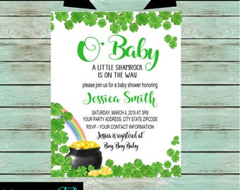 Baby Shower St. Patricks Day Shamrocks Irish Pot of Gold Party Invitations Invites Personalized Custom ~ We Print and Mail to You