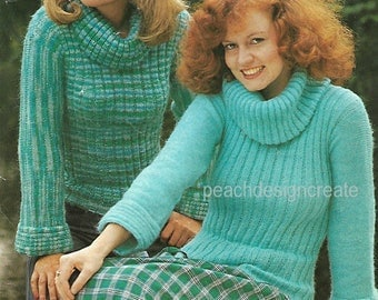 knitting pattern, women's, ladies retro 70's fashion, polo neck jumper, sizes 32 to 40 inch, double knitting, pdf