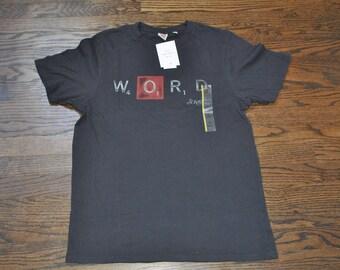 Black Thrifted Word Tee, Men's Medium Black Tee, Mens Medium Thrifted Shirt, Mens Scrabble Shirt, Mens Scrabble Tee, Mens Gift, Black Tee,