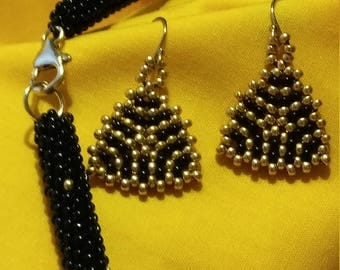 Black and Gold Sparkling Beaded Necklace and Earrings Set