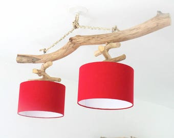 Chandelier Driftwood - your choice - double wrap ornaments - lamp shade cylinder 28 cm - round ceiling light