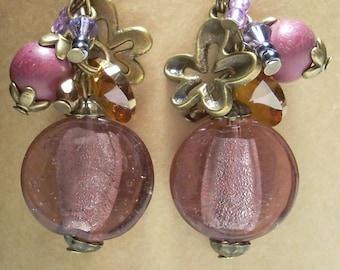 SILVER FOIL GLASS BEAD EARRINGS