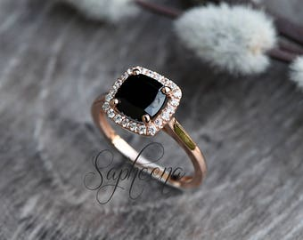 Black Spinel Cushion Cut Halo Engagement Ring in 14k Rose Gold, Bridal, Natural Spinel, Simulated Diamonds, Promise Ring,Wedding by Sapheena