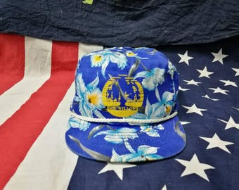 vintage 90' sun wald floral snapback hat cap made in roc taiwan