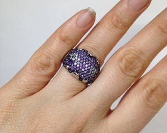 Cluster Ring, Purple cluster Ring, Cluster flower Ring, 925 Sterling Silver cluster Ring and Rhodium Finish