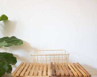 gold tone metal basket/ bin