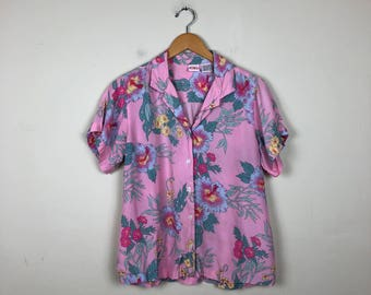 80s Pink Hawaiian Button Up Size Medium, Vintage Hawaiian Up