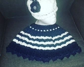 Navy blue and white matching hat and shawl