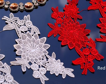 1 Pair Bridal Lace Applique Trim Appliques in Off-White for Weddings, Sashes, Veils, Headpieces, WL711