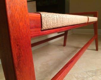 danish cord modern wood bench mid century modern