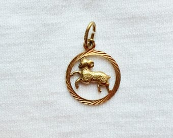 Vintage 14k Yellow Gold Aries Ram Charm or Pendant Round 3-D for Bracelet or Necklace Estate 14kt 14 k kt Marked March April Birthday