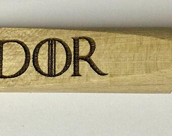 """Game of Thrones inspired Hodor """"Hold The Door"""" Wooden Beech Doorstop / Doorwedge"""