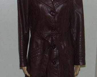 Plum/Burgundy Vintage Leather Coat from Wilsons