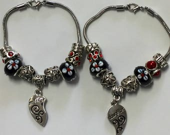 Black and red mother and daughter European charm bracelets