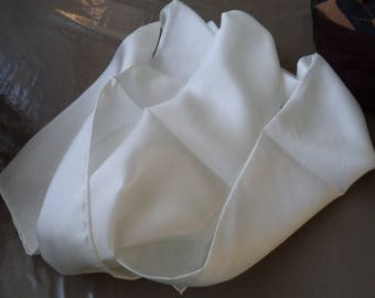 superb quality white silk scarf