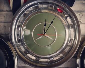 Mercedes hubcap Clock (green)