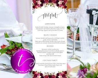 marsala Wedding Menus printable,burgundy Wedding Menu card printable template,floral Wedding Menus card template,rehearsal dinner menu,32
