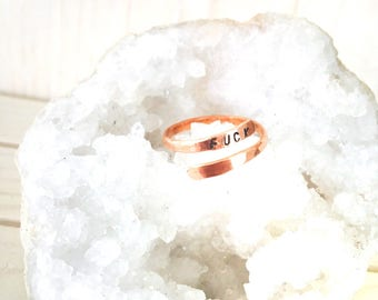 Fuck Copper Wrap Ring// fuck ring// copper ring// copper stamp ring// adjustable ring// copper stamped jewelry// stamped fuck ring