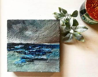 Abstract/Waves/Ocean/Seascape/Dark/Stormy/Texture/Original/Lake/Oil Painting/Time For Sleep is Now