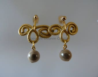 Wire gold ridged wheels, magical ivory pearls, (, 14 k Gold filled) ear studs earrings