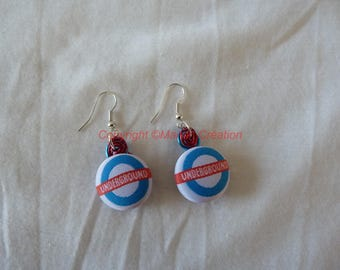 "Earrings ""Underground"" button on red and blue aluminium wire"