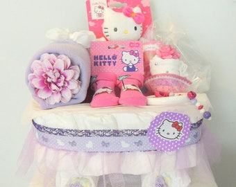Cradle gift baby girl diaper cake